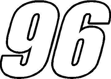 96 Race Number Impact Font Decal Sticker 1