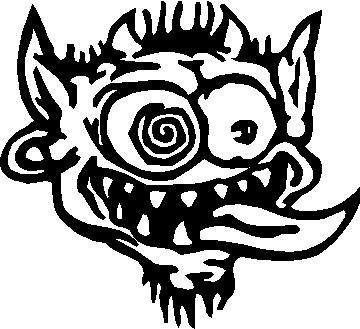 Crazy face cartoon animated crazy face decal sticker