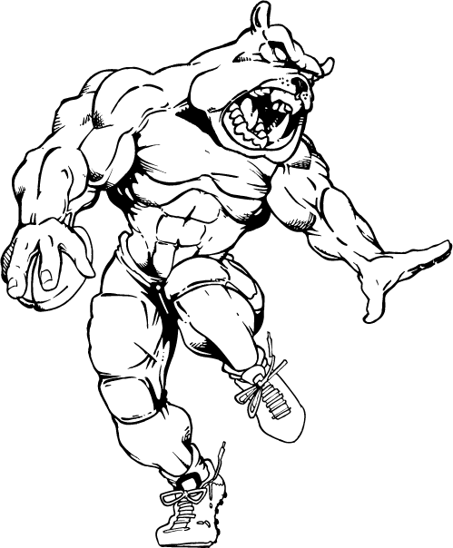 Bulldog Drawings Mascot Sketch Coloring Page